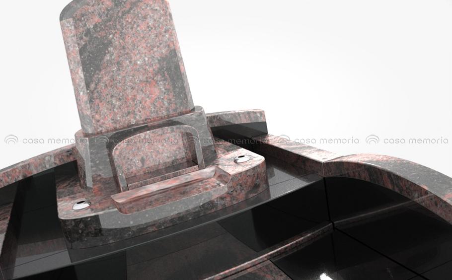 赤御影石と黒御影石の組み合わせが